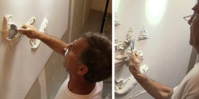 Он начинал самоучкой, а сейчас является мастером, имея лишь шпатель и штукатурку, и делает барельефы почти как в замках…